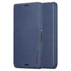 Beli Slim Phone Kulit Berdiri Case For Sony Xperia Z3 D6603 D6643 D6653 D6616 Biru Gelap X Level Yang Bagus