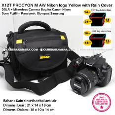 X12T PROCYON M AW Nikon logo Yellow with Rain Cover for DSLR + Mirrorless Camera Bag for Canon Nikon Sony Fujifilm Panasonic Olympus Samsung