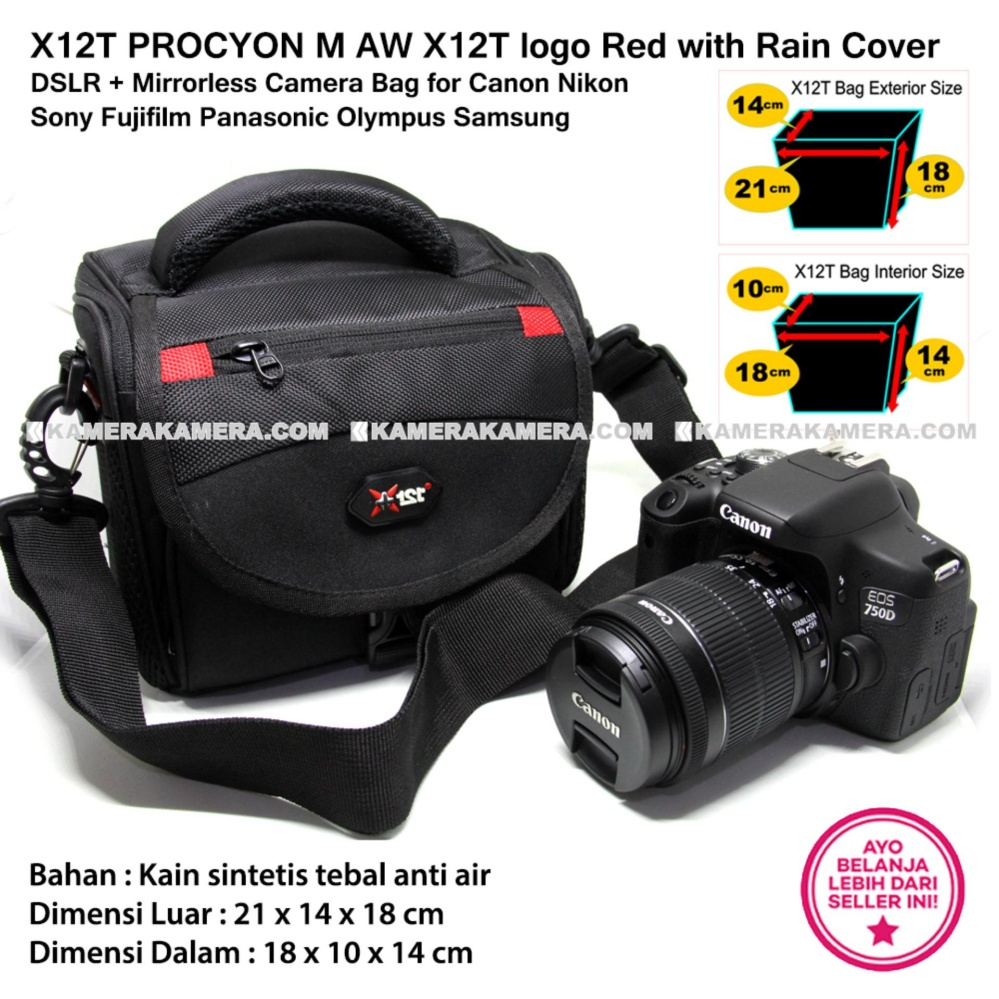 X12T PROCYON M AW X12T logo Red with Rain Cover for DSLR + Mirrorless Camera Bag for Canon Nikon Sony Fujifilm Panasonic Olympus Samsung