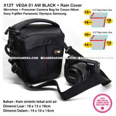 X12T VEGA 01 AW BLACK with Rain Cover Tas Kamera Mirrorless + Prosumer for Canon Nikon Sony Fujifilm Panasonic Olympus Samsung
