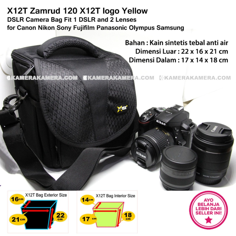 X12T Zamrud 120 X12T logo Yellow for DSLR Camera Bag Fit 1 DSLR and 2 Lenses for Canon Nikon Sony Fujifilm Panasonic Olympus Samsung