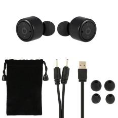 X1T Benar Nirkabel Bluetooth Headphone Stereo Bluetooth 4.2 Sport Headset Hands-free dengan MIC 8 Jam Musik Waktu 8 Jam Waktu Bicara Hitam untuk Menjalankan Gym Latihan Bisnis-Intl