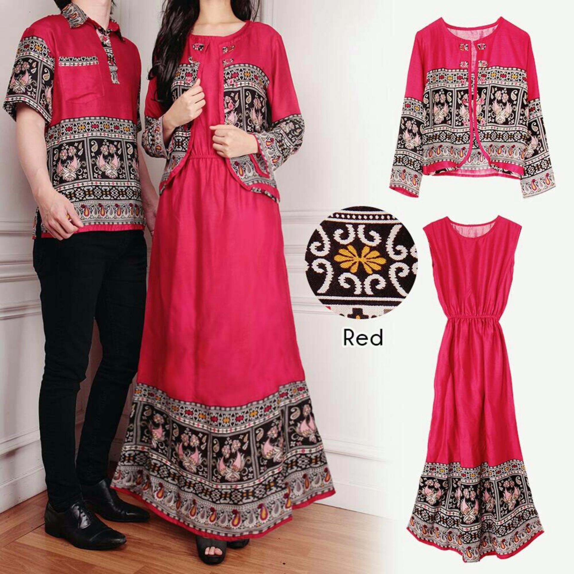 Xavier Couple Eva 3in1 Merah Couple Kemeja Baju Batik Pria Couple / Gamis Muslim / Kebaya Dress Wanita / Set Muslim / setelan baju  muslim / kabaya pesta / kebaya modis