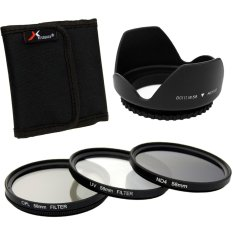 Xcsâ® Sinar UV Kopral ND4 Filter Set + Kap Lensa 58mm For Canon 550D 500D 450D 400D 350D LF282-SZ (Hitam)