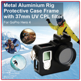 Promo Xcsource Alat Pengebor Aluminium Logam Pelindung Bingkai Wadah Perumahan Shell Gunung With 37Mm Sinar Uv Filter Cpl For Gopro Hero 4 Os271 Murah