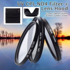 XCSource UV CPL ND4 Filter + Lens Hood 52mm For Nikon D3200 D3100 D3000 D90 D80 D70 D800 D700 D610 D600 D300S D70 - hitam