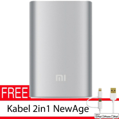 Xiaomi 10000Mah Original PowerBank - Silver + Gratis Kabel 2in1