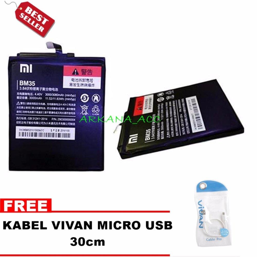 Toko Xiaomi Baterai Bm35 For Xiaomi Mi 4C Ori Nonpacking Bonus Kabel Vivan Micro Usb 30Cm Lengkap Di Dki Jakarta