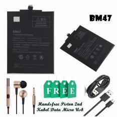 Xiaomi Baterai BM47 Original For Xiaomi Redmi 3 Black + Gratis Xiaomi Handsfree Piston 2nd Generation Gold & Xiaomi Kabel Data Micro USB