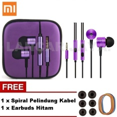Xiaomi Earphone Big Bass Piston Mi 2nd Generation Handsfree/Headset Purple Ungu_ + Gratis Earbuds