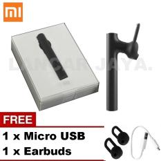 Xiaomi Headset Bluetooth 4.1 Earphone Build-in Mic Original Handfree for xiaomi redmi note 2 Black + Gratis Micro USB + Earbuds