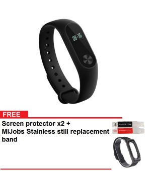 Xiaomi Mi Band 2 Smart Bracelet Sports Fitness Tracker - Hitam + Gratis MiJobs Replaceable Stainless