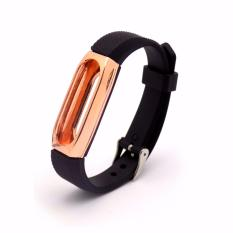 Xiaomi Mi Band 2 Strap Replacement Stainless Steel Protective Case - Hitam Rose Gold