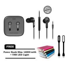 Xiaomi Mi Piston Huosai Earphone 3 Generation Original + FREE Power Bank Slim 16800 mAh + USB LED Light