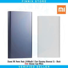 Jual Xiaomi Mi Power Bank 10 000Mah 2 Fast Charging Generasi 2 Black Free Silicone Case White Grosir
