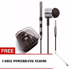 Xiaomi Piston Mi Original 2nd Gen Mic & Volume Control Handsfree/Headset + Bonus Kabel Powerbank Xiaomi- Silver