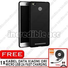 Xiaomi Redmi 3s Baby Skin Soft Anti Fingerprint Babby Skin Softase Silicon Slim Matte Ultra Slim - Black + Free Kabel Data Xiaomi Original 2A