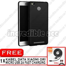 Xiaomi Redmi 3s Pro Baby Skin Soft Anti Fingerprint Babby Skin Softase Silicon Slim Matte Ultra Slim - Black + Free Kabel Data Xiaomi Original 2A