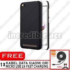 Xiaomi Redmi Note 5A (5,5 inch Non Fingerprint) Nillkin Frosted Shield Hardcase Elegant - Black + Free Kabel Data Xiaomi Original 2A