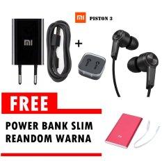Xiaomi Travel Adapter Charger 1A + Xiaomi piston 3 - Hitam Gratis Powerbank Slim 5800mAh