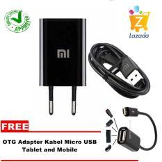 Xiaomi Travel Charger -1A + GRATIS OT USB Adapter Kabel Micro USB - Hitam