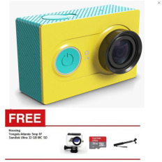 Xiaomi Yi Action Cam WiFi 16MP 1080P International Version Hijau + Waterproof + Sandisk Ultra 32 GB + Tongsis