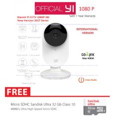 Xiaomi Yi CCTV Home Camera 1080P International Version English with Night Version 111 Degree Support Night Vision Motion LDC Baby Crying Detection Built-in MIC 2 Way Audio + Micro SD Sandisk 32GB Class 10 - Putih