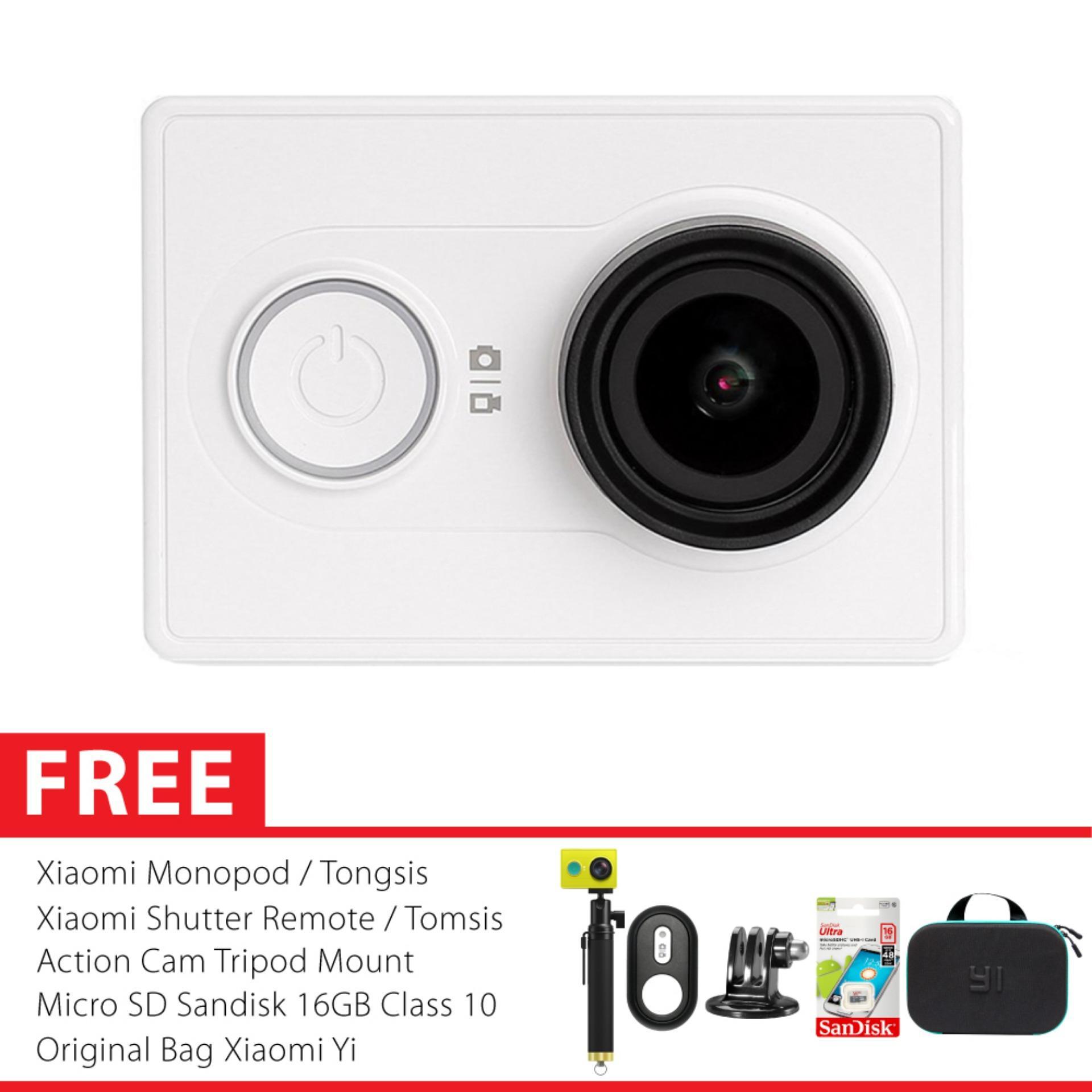 WIFI Camera Xiaomi Yi International Paket bo Hemat Godric Action Camera Original Gratis Bundling Bonus Putih