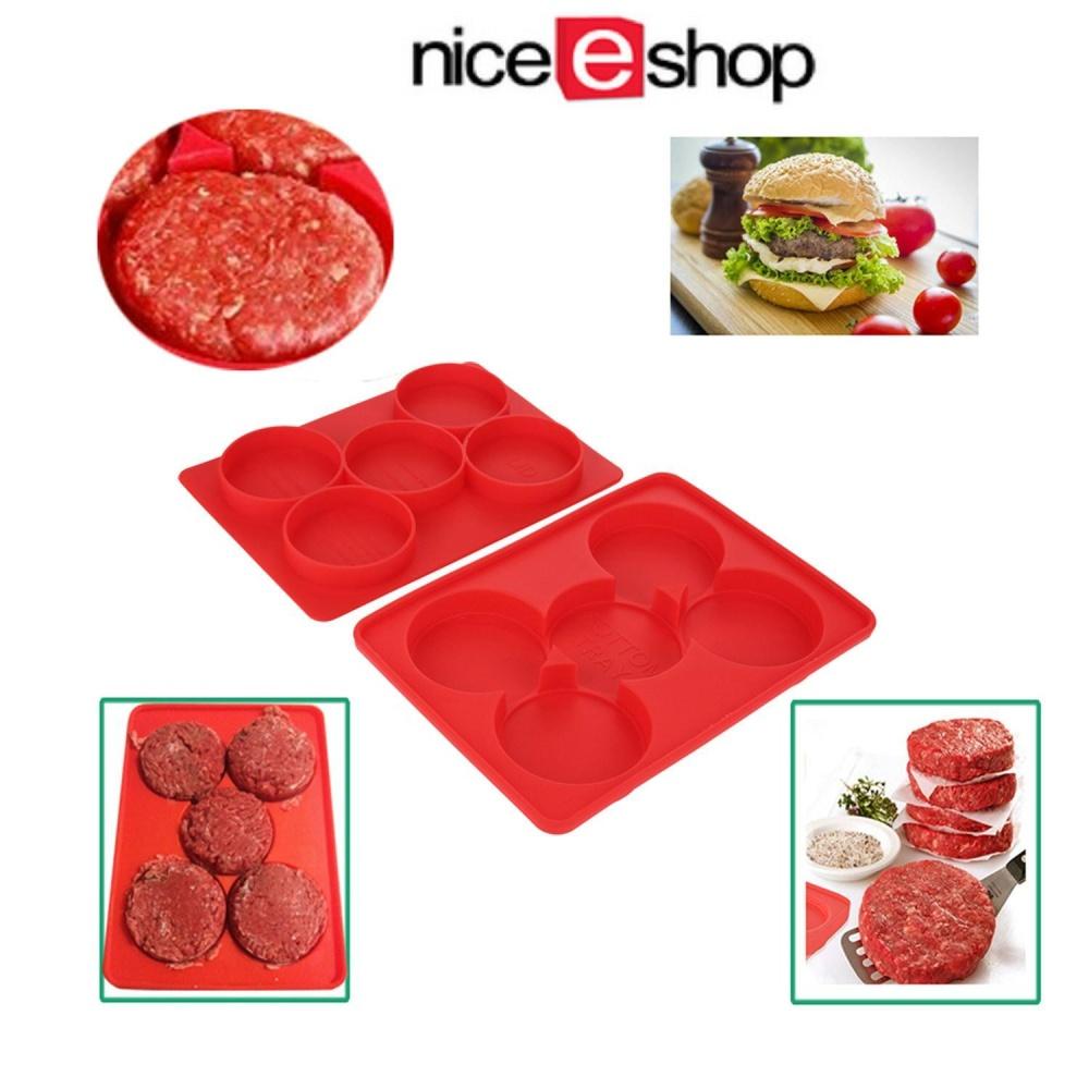 Xinning Silicone Burger Tekan Pembuat Patty, Kecil Silicone Hamburger Cetakan dan Freezer Container, Merah-Intl