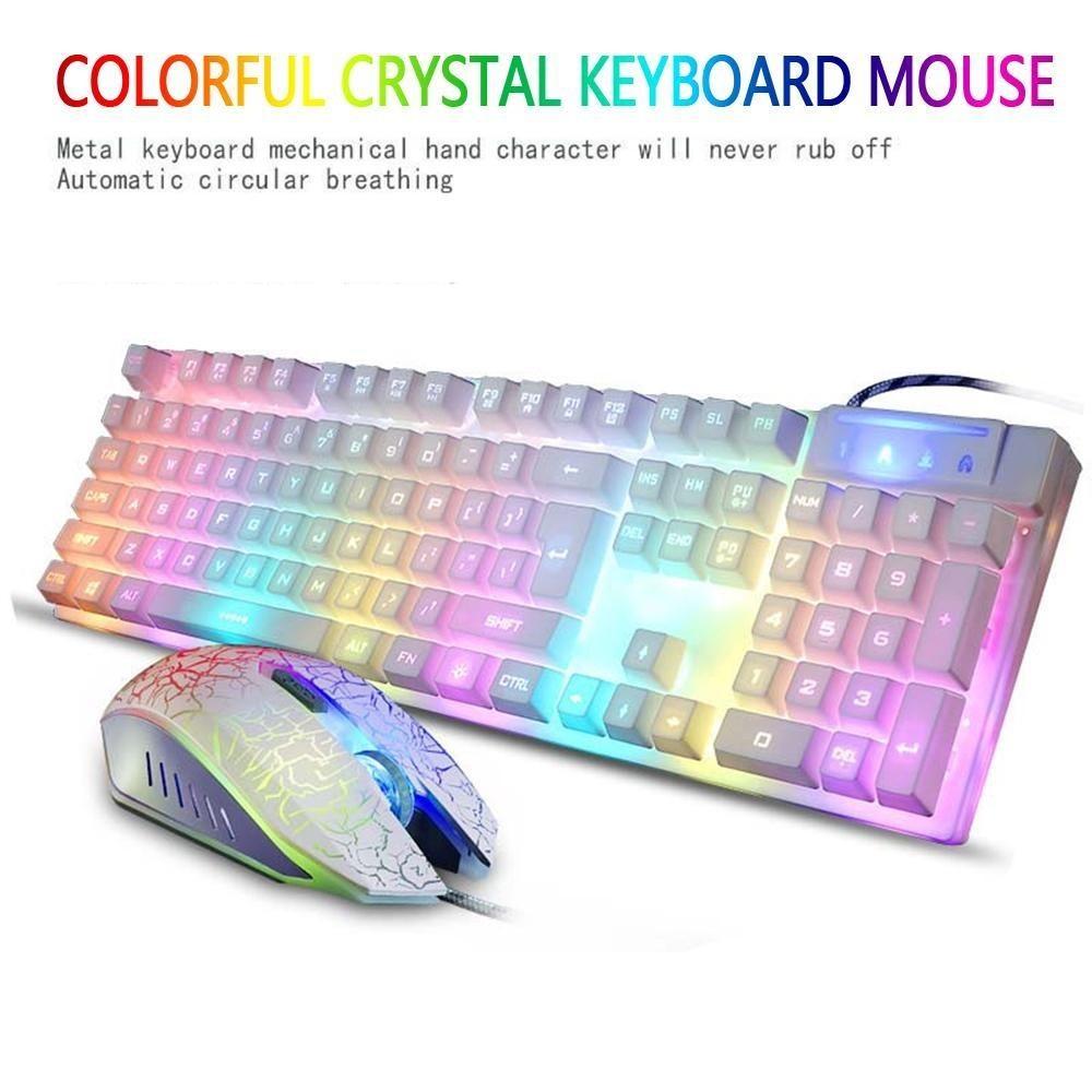 Xiteng KR-700 Lampu Latar Profesional Gaming Mechanical Keyboard, 4000 DPI Optik Wired Mouse-Intl