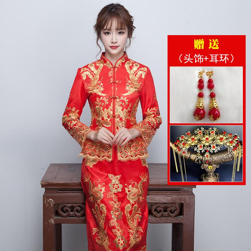 Xiu Wo Pakaian Cheongsam Mempelai Wanita Gaun Naga atau Phoenix Baru Model Kimono (Ditambah Katun Lengan Panjang-( -Anda Mengirim Asesoris Kepala + + + Anting))
