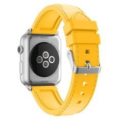 Xumu Apple Watch Seri 1 Seri 2 38mm Soft Silicone Garis Jahitan Sport Band untuk Nike + Apple Watch Seri 1 Seri 2 IWatch Sport Edition Penggantian Strap Gelang (Kuning) -Intl