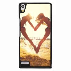 Y & M Cell Phone Case untuk Huawei Ascend P6 Satu Hati Pola Kekasih Cover (Multicolor)-Intl