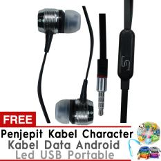 Beli Yarden Premium Headset Mega Bass Handsfree Hitam Gratis Led Usb Portable Penjepit Kabel Android Cable Data Murah Di Dki Jakarta