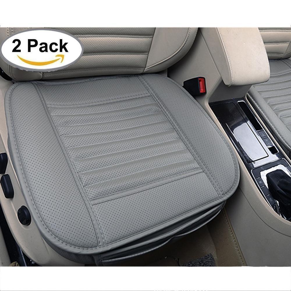 Yesefus Edge Wrapping Mobil Depan Seat Cover, 2 Pcs Universal Breathable PU Leather Arang Bambu Auto Interior Kantor Kursi Protector Cushion Pad Mat (Grey) -Intl