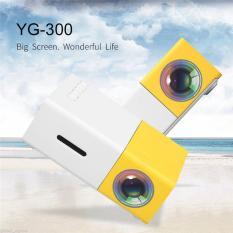 YG300 LCD Mini Dukungan Portable Proyektor Home Theater Cinema Media Player 400lm Kuning + Putih-Internasional