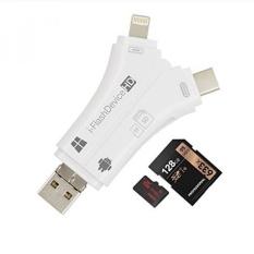 YiKaiEn 4 In 1 Pembaca Kartu Flash Drive USB Micro SD SDHC TF Reader untuk IPhone 7/7 Plus/6 S/6 S Plus/s5s/5/5C/ipad/MAC/PC/Android- INTL