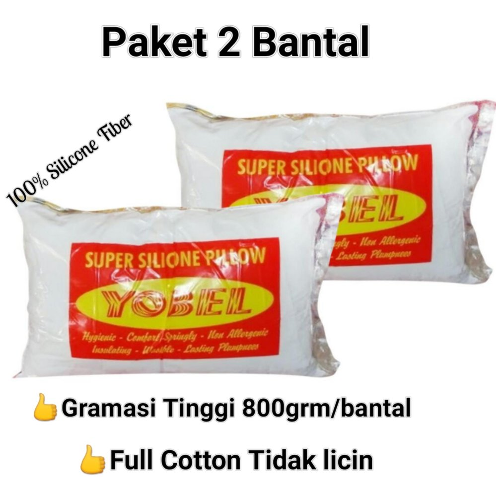 Jual Yobel Bantal Tidur Paket 2 Bantal Bantal Silicone Fiber Putih Grosir