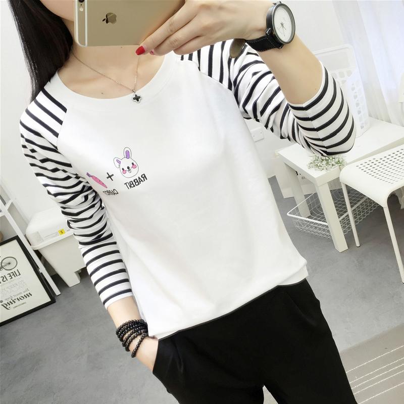 Obral T Shirt Lengan Panjang Longgar Garis Garis Wanita 500 Lobak Kelinci 500 Lobak Kelinci Murah