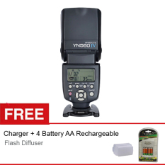 Yongnuo Flash - 560 IV + Gratis Charger + 4 Battery AA Rechargeable + Diffuser for Canon/Nikon