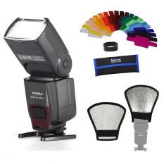 Yongnuo YN-560 IV Wireless Flash Speedlite For Canon Nikon Dll DSLR Kamera + Silver/putih Reflektor + Filter Warna Gel Band