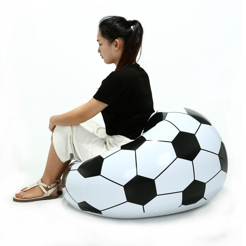 Yooc Sepak Bola Inflatable Sofa Desain Keren Bean Bag PVC Ramah Lingkungan Berkualitas Tinggi untuk Orang Dewasa dan Anak-anak, Hitam + Putih, Kecil-Intl