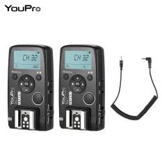 Youpro Pro-7 Wireless Shutter Timer Remote dan Pemicu Flash 2in1 dengan E3 2.5 Mm PC Sync & Kabel Rana untuk canon 80D 77D 800D 760D 750D 700D 650D 600D 550D/Rebel T2i T3i T4i T5i T6i T6S T7i 1300D 1200D 1100D 70D 60D Camera-Intl