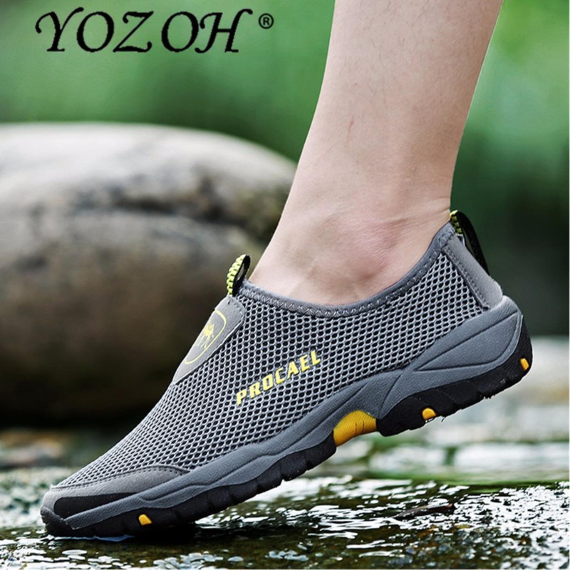 Harga Yozoh Mode Musim Panas Sepatu Pria Udara Mesh Sepatu Kasual Ringan Bernapas Slip On Flat Chaussure Online