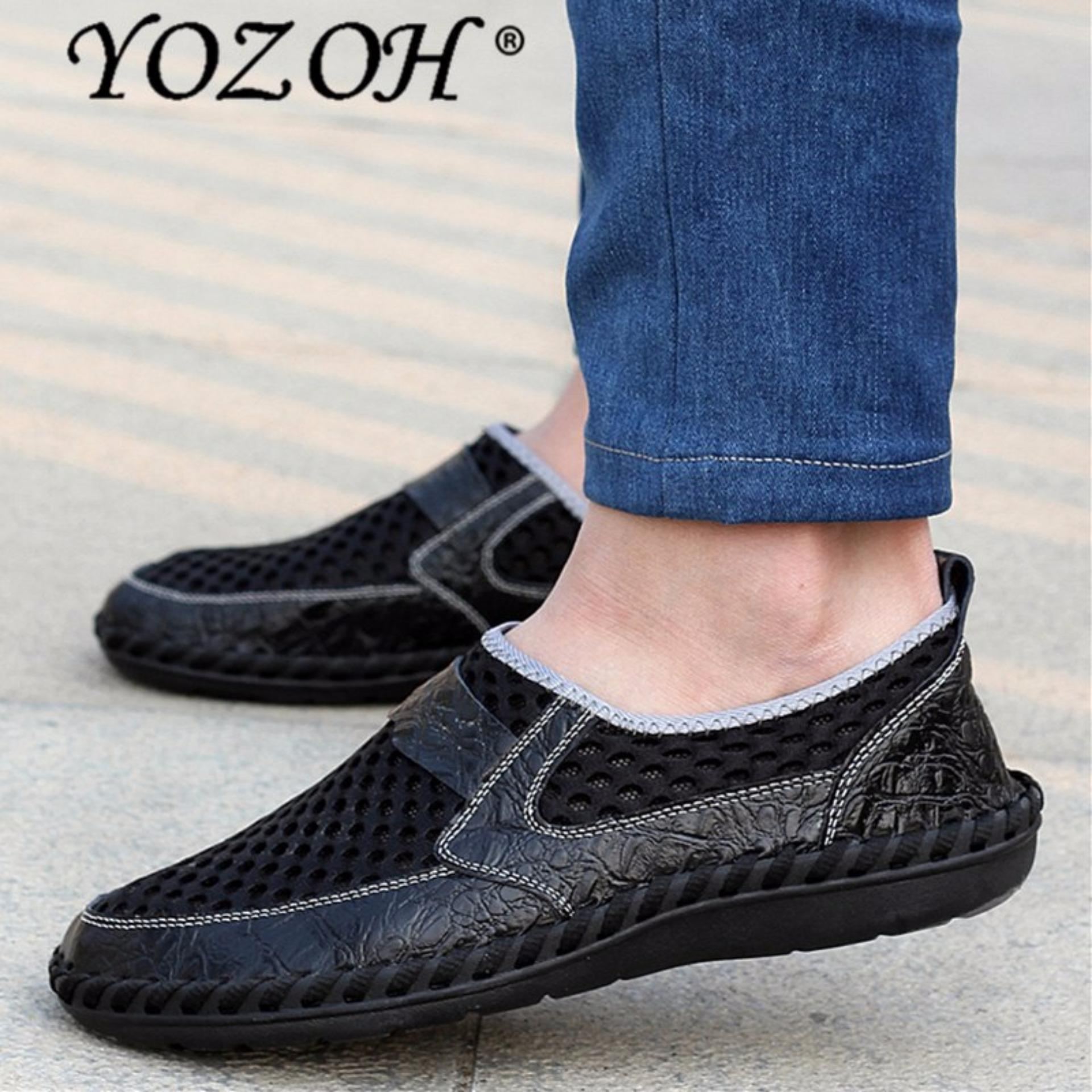 Beli Yozoh Musim Panas Bernapas Mesh Sepatu Sepatu Kasual Pria Kulit Asli Slip On Brand Fashion Sepatu Musim Panas Pria Lembut Nyaman Hitam Baru