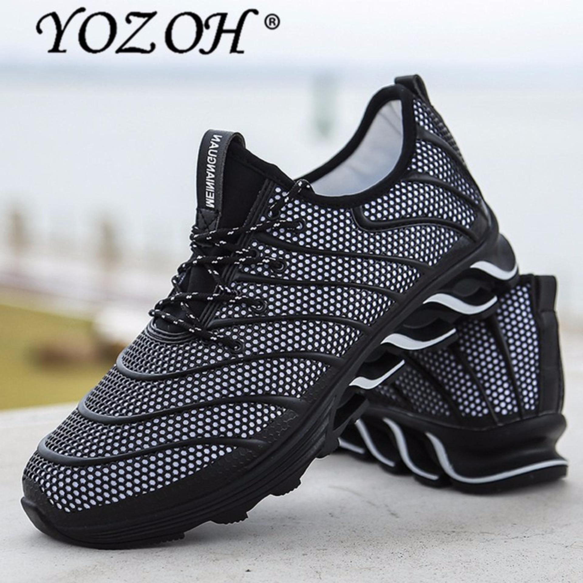 Harga Yozoh Olahraga Sepatu Lari Musik Irama Pria Sneakers Bernapas Mesh Kolam Hitam Intl Original