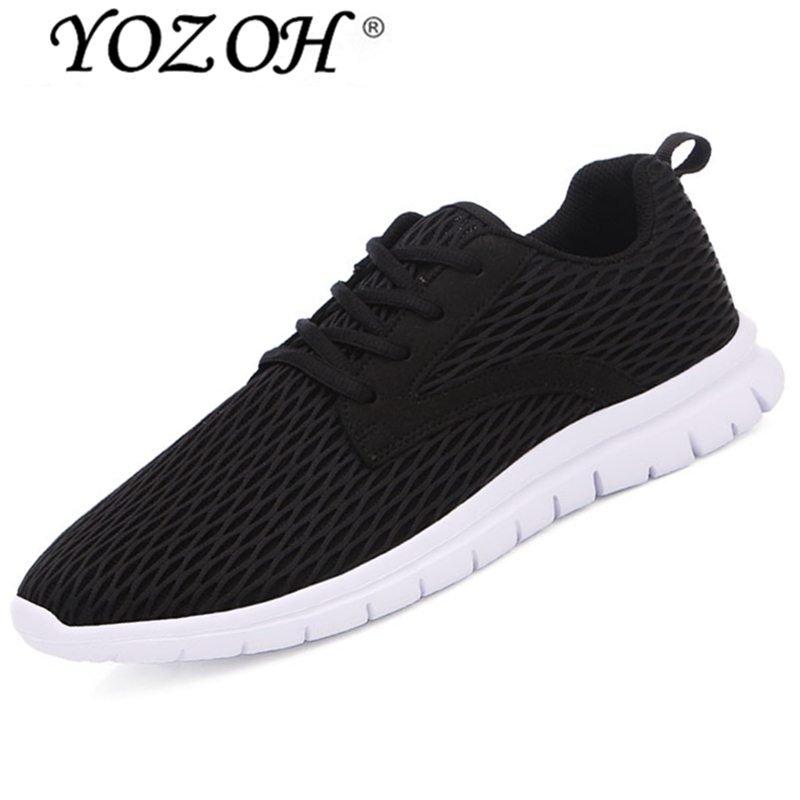 Jual Beli Yozoh Pria Outdoor Sport Jogging Running Sepatu Sneakers Kasual Mesh Bernapas Pelatih Rendah Cut Flat Sepatu Hitam Intl