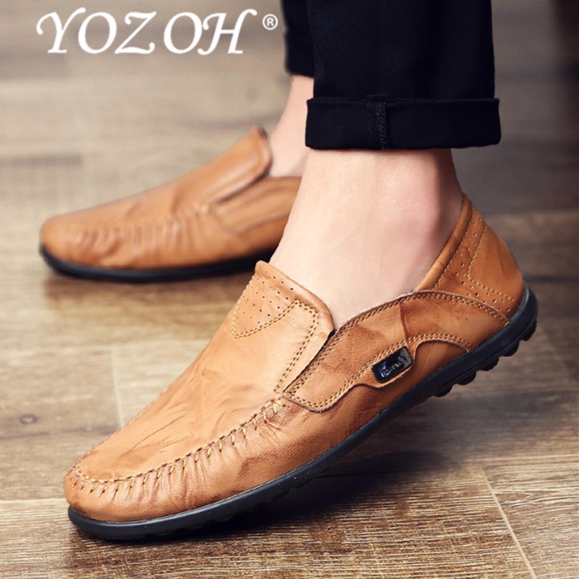Yozoh Vintage Kulit Asli Lembut Loafers Untuk Pria Slip On Moccasin Boat Flats Sepatu Kuning Intl Tiongkok Diskon 50