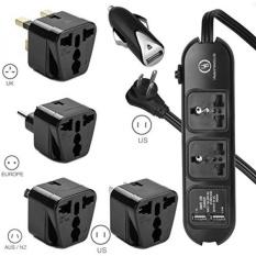 Yubi Daya Universal Daya Strip 2 Soket & 2 USB-100 V Sampai 220 V/250 V dan 2500 Watt Surge Pelindung-AS Steker-Plus 4 Universal Adaptor Steker Tipe E/F Tipe G Tipe aku Tipe B dan Adaptor Mobil 5 Pack Set-Internasional
