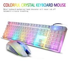 Yukufus KR-700 Lampu Latar Profesional Gaming Mechanical Keyboard, 4000 DPI Optik Wired Mouse-Intl